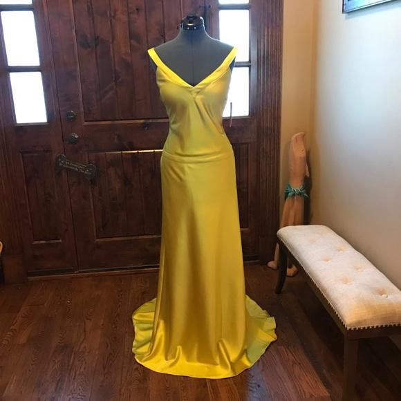 Jovani Dresses | Jvn Sophisticated Yellow Satin Gown Nwt | Poshmark